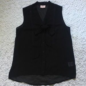 UO Black Sheer Goth Button Up Tank with Bow